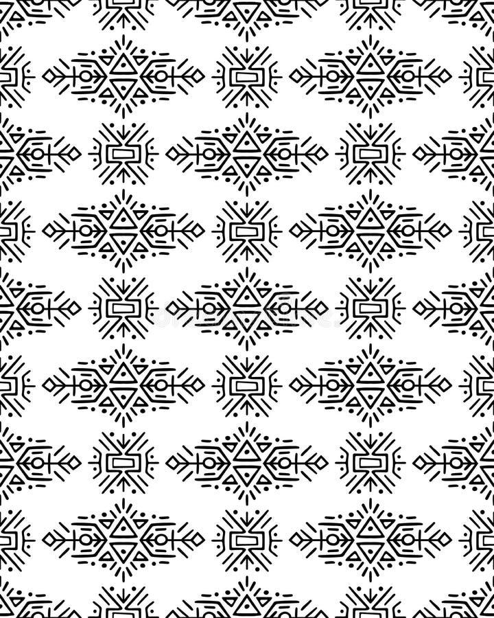 Wektorowy bezszwowy wzór w etnicznym stylu Kreatywnie plemienny niekończący się ornament, doskonalić dla tekstylnego projekta, op royalty ilustracja
