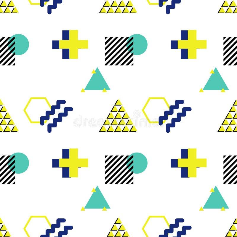 Wektorowy bezszwowy wzór w 90s stylu Geometryczni kształty triang ilustracji