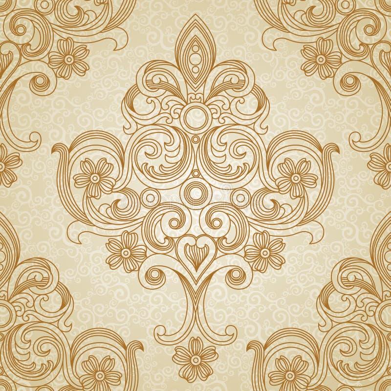 Wektorowy bezszwowy wzór w wiktoriański stylu. ilustracja wektor