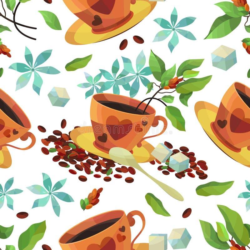 Wektorowy bezszwowy wzór z Ñ  up kawa, kawowe fasole, cukier i kwiaty, ilustracji