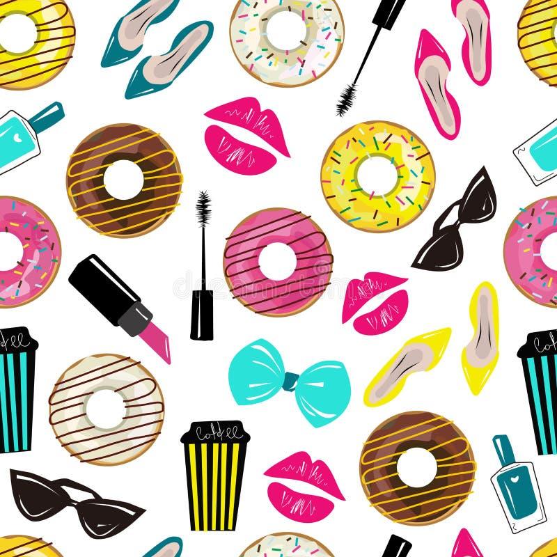 Wektorowy bezszwowy wzór z ślicznym, moda, stylowy dziewczyna materiał Modni kolory Fasonuje druk z donuts, kawą i kosmetykami, royalty ilustracja