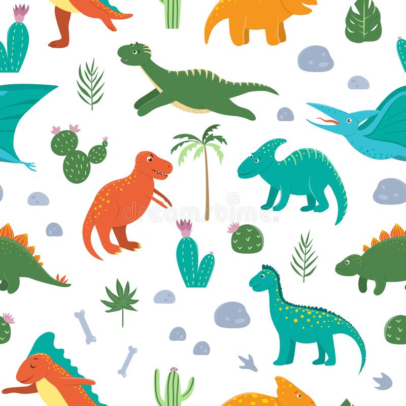 Wektorowy bezszwowy wzór z ślicznymi dinosaurami z drzewkami palmowymi, kaktus, kamienie, odciski stopi, kości dla dzieci Dino mi ilustracja wektor