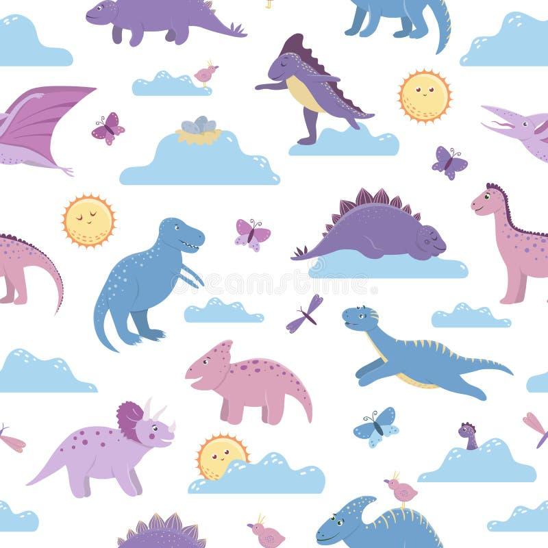 Wektorowy bezszwowy wzór z ślicznymi dinosaurami na dnia niebie z chmurami, słońce, motyle, ptaki dla dzieci ilustracja wektor
