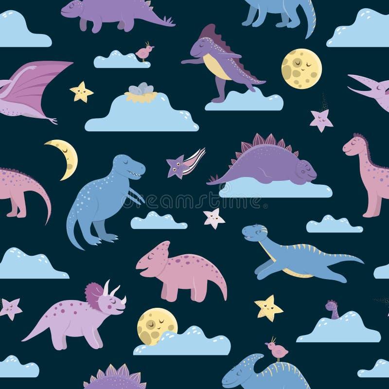 Wektorowy bezszwowy wzór z ślicznymi dinosaurami na nocnym niebie z chmurami, księżyc, gwiazdy, ptaki dla dzieci Dino mieszkania  royalty ilustracja