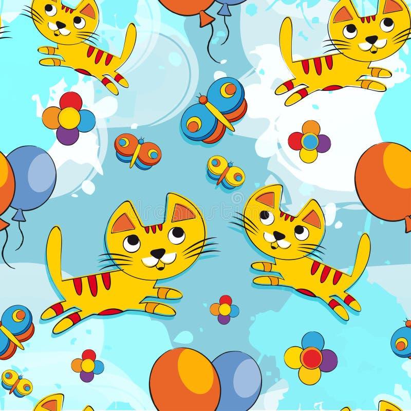 Wektorowy bezszwowy wzór z ślicznymi figlarkami, motyl, kwiaty, balony Dziecka tło dla tkaniny, papier, wnętrze royalty ilustracja