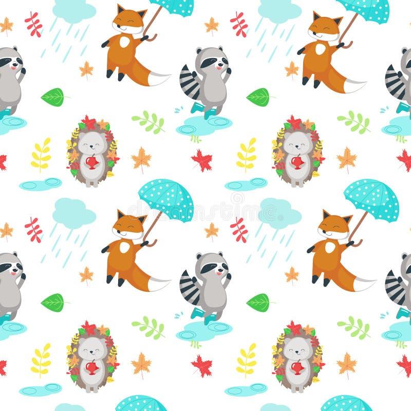 Wektorowy bezszwowy wzór z ślicznymi jesieni zwierzętami royalty ilustracja