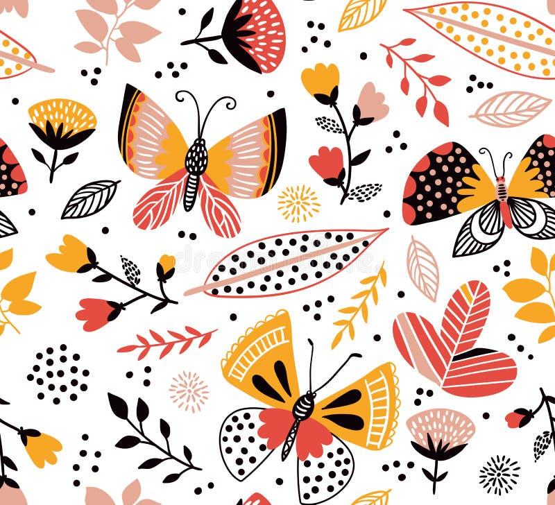 Wektorowy bezszwowy wzór z ślicznymi motylami, kwiatami i roślinami, Jaskrawy lata tło royalty ilustracja