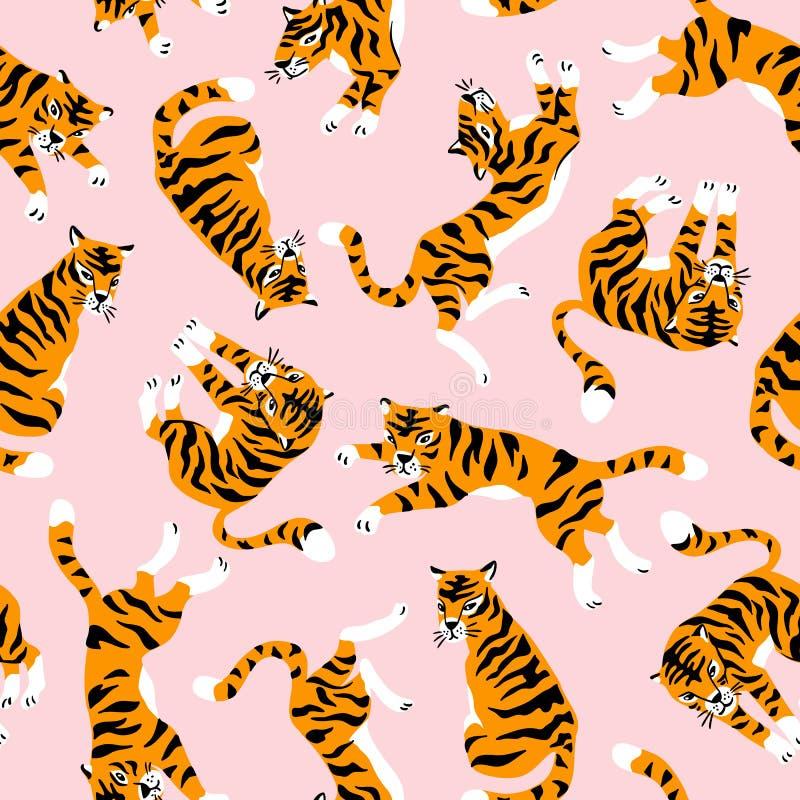 Wektorowy bezszwowy wzór z ślicznymi tygrysami na różowym tle Cyrkowego zwierzęcia przedstawienie Tkanina projekt royalty ilustracja