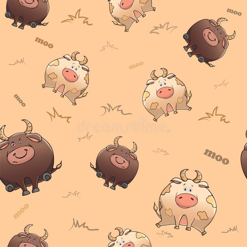 Wektorowy bezszwowy wzór z śmiesznym zwierzęciem Śliczna gruba krowa i surowy byk G?ste pocieszne bestie Tekstura na be?owym tle ilustracji