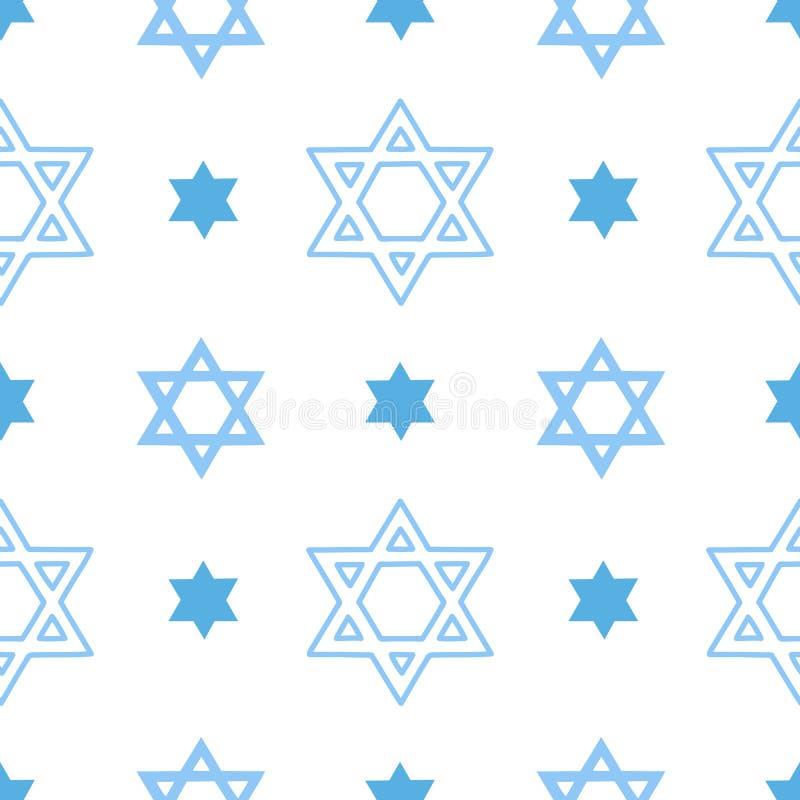 Wektorowy bezszwowy wzór z żydowską gwiazdą dawidową ilustracja wektor
