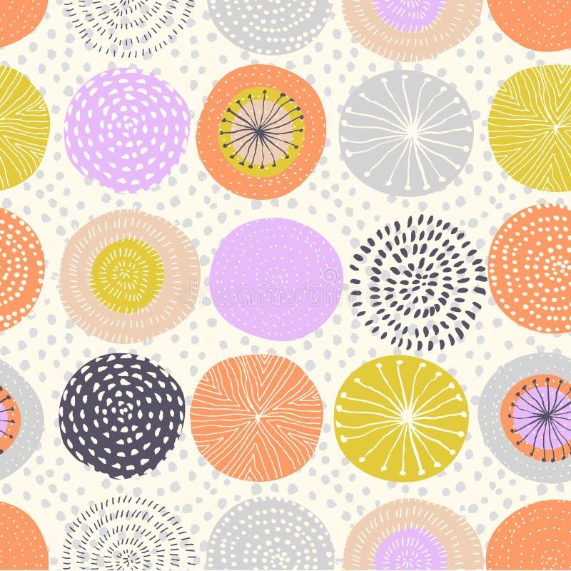 Wektorowy bezszwowy wzór z atramentu okręgu teksturami Abstrakcjonistyczny bezszwowy tło z kolorowymi fajerwerkami royalty ilustracja