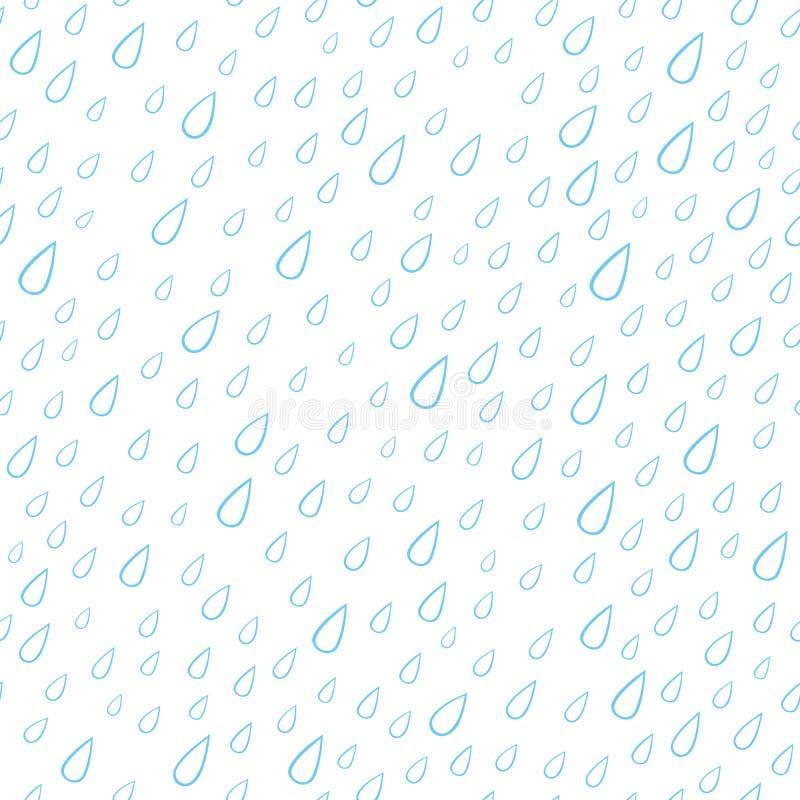 Wektorowy bezszwowy wzór z błękita deszczu kroplami Prosty sezonowy t?o royalty ilustracja