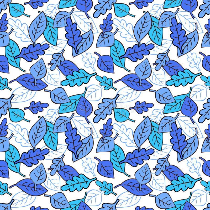 Wektorowy bezszwowy wzór z błękitnymi liśćmi zdjęcia royalty free