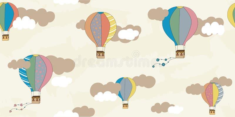 Wektorowy bezszwowy wzór z balonami i chmurami Children deseniowi Wektorowy tekstylnej tkaniny druk royalty ilustracja