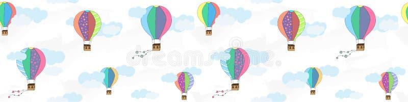 Wektorowy bezszwowy wzór z balonami i chmurami Dziecka ` s wzór Wektorowy tekstylnej tkaniny druk royalty ilustracja