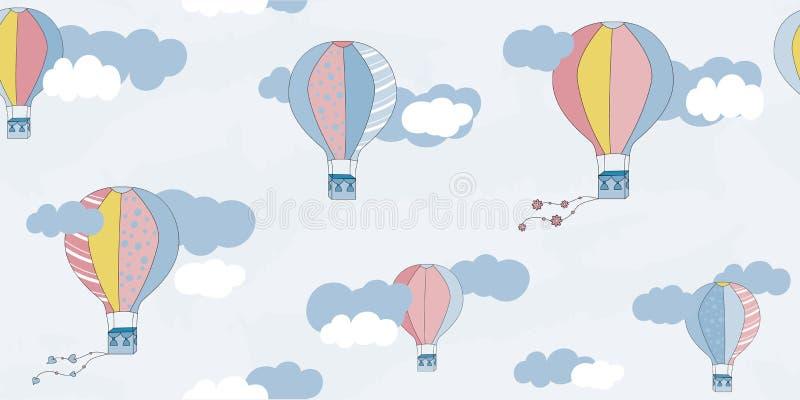 Wektorowy bezszwowy wzór z balonami i chmurami Dziecka ` s wzór Wektorowy tekstylnej tkaniny druk ilustracji