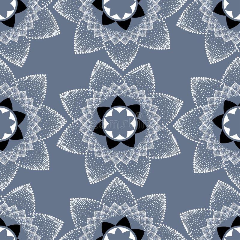 Wektorowy bezszwowy wzór z biały kropkowany round mandala na szarym tle ilustracja wektor