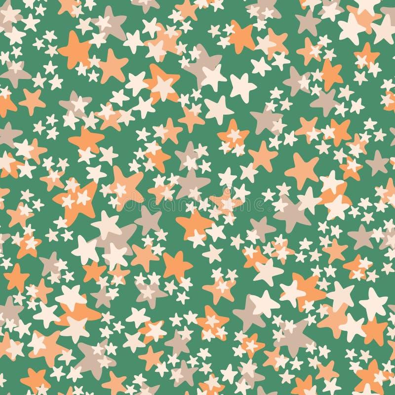 Wektorowy bezszwowy wzór z białym, pomarańczowy, beż gra główna rolę na zielonym tle Zabawa ditsy gwiazdowy druk, gwiazdozbiory i ilustracja wektor