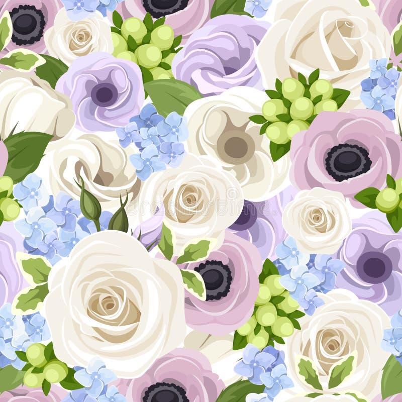 Wektorowy bezszwowy wzór z białymi różami, purpurowymi lisianthuses, anemony i błękitna hortensja, royalty ilustracja
