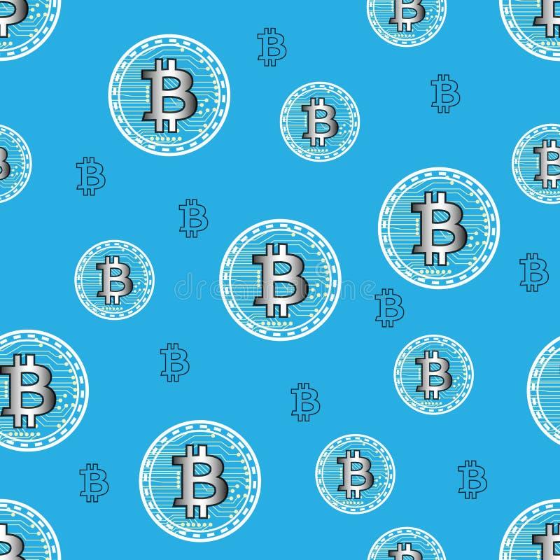 Wektorowy bezszwowy wzór z bitcoin symbolem Ukazuje się dla opakunkowego papieru, koszula, płótna, Digital papier royalty ilustracja