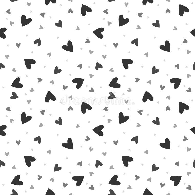 Wektorowy bezszwowy wzór z chaotycznymi sercami zdjęcie stock