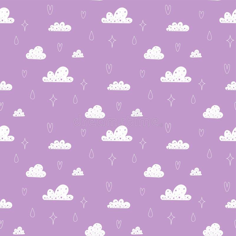 Wektorowy bezszwowy wzór z chmurami, gwiazdami i kroplami deszcz, ilustracji