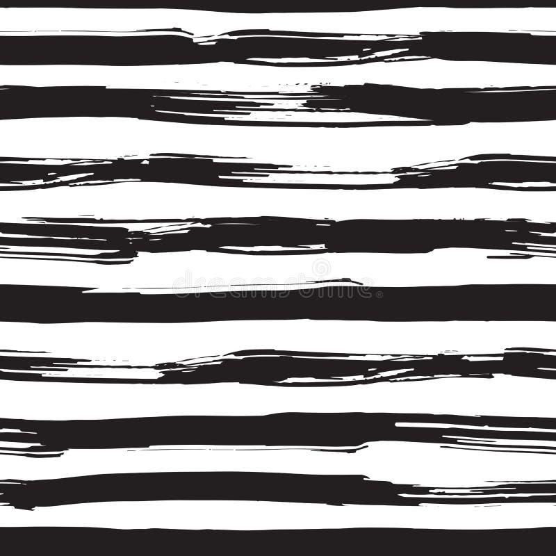 Wektorowy bezszwowy wzór z czerni muśnięcia uderzeniami ilustracja wektor