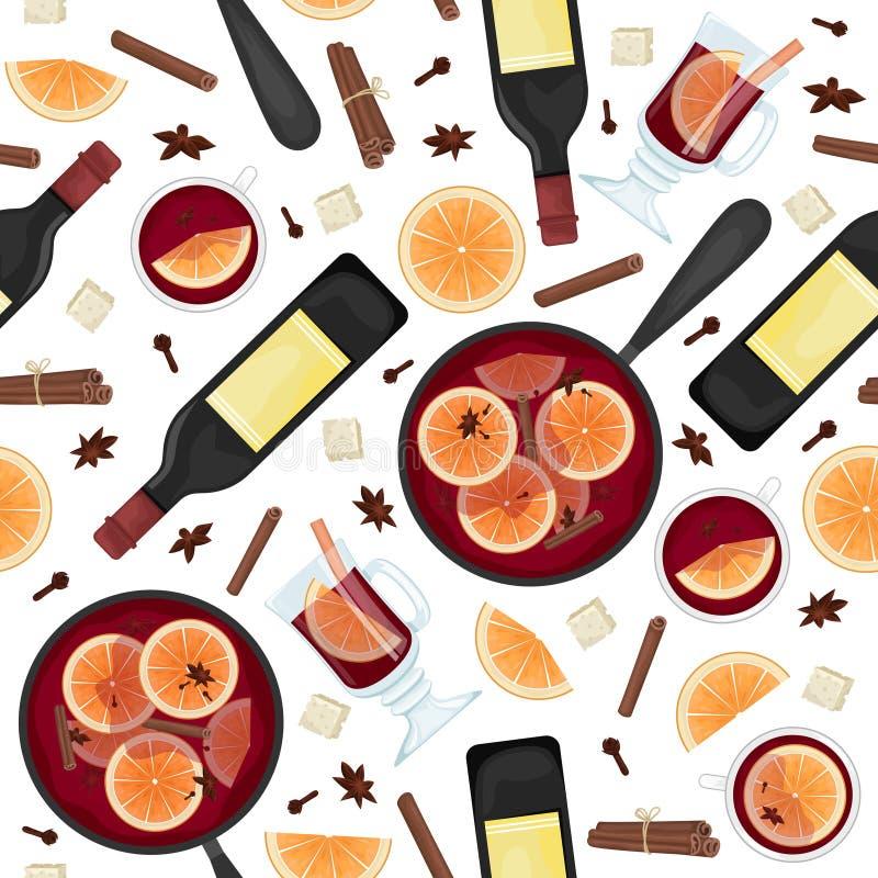 Wektorowy bezszwowy wzór z czerwień rozmyślającym winem w garnku z pomarańcze plasterkami, cynamonem, cloves i wiadrem, Biel i sz ilustracja wektor