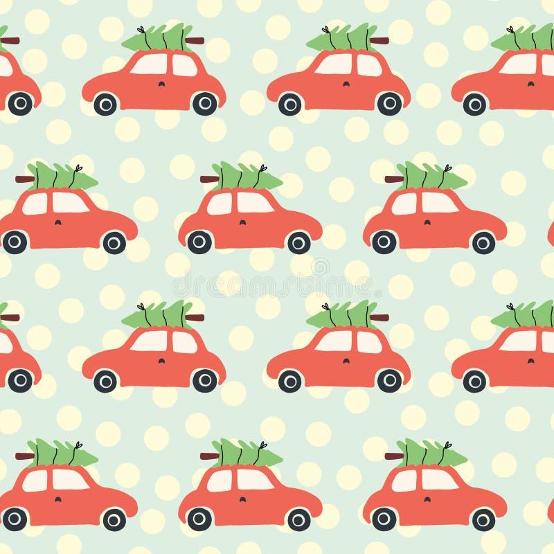 Wektorowy bezszwowy wzór z czerwonym samochodem i choinką na dachu Rocznika Bożenarodzeniowy tło z retro samochodami i bożymi nar ilustracji