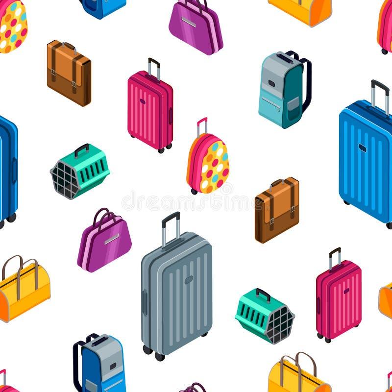 Wektorowy bezszwowy wzór z 3d isometric bagażem, walizka, zdojest Projekt dla tekstylnego druku, podróż, turystyki tło ilustracja wektor