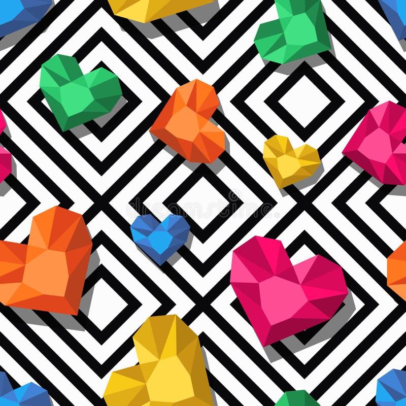 Wektorowy bezszwowy wzór z 3d stylizował klejnot, klejnoty w kierowym kształcie Geometryczny czarny i biały tło z sercami ilustracji