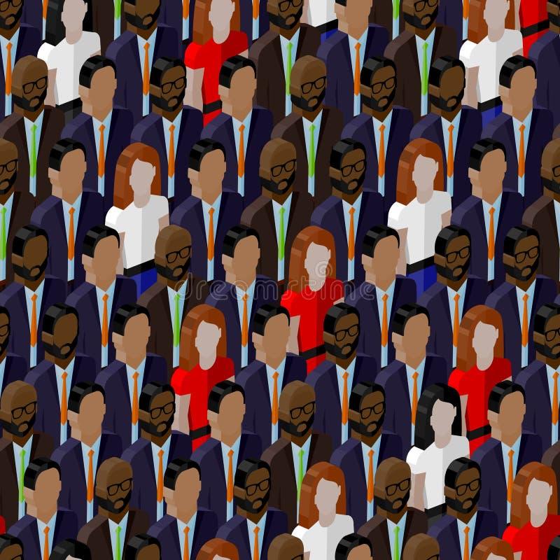 Wektorowy bezszwowy wzór z damami i dżentelmenami 3d isometric ilustracja biznesu lub polityka społeczność ilustracja wektor