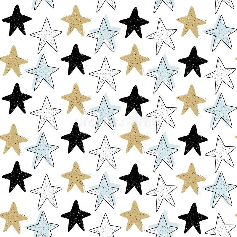 Wektorowy bezszwowy wzór z dennymi gwiazdami Skandynawscy motywy Dziecko druk royalty ilustracja