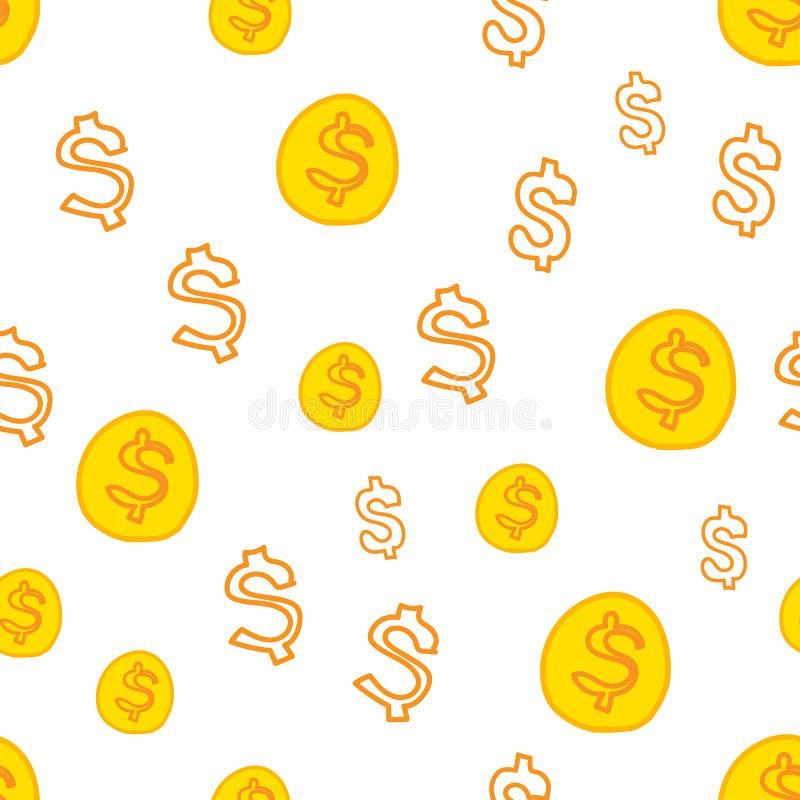 Wektorowy bezszwowy wzór z dolarowym symbolem Ukazuje się dla opakunkowego papieru, koszula, płótna, Digital papier ilustracja wektor