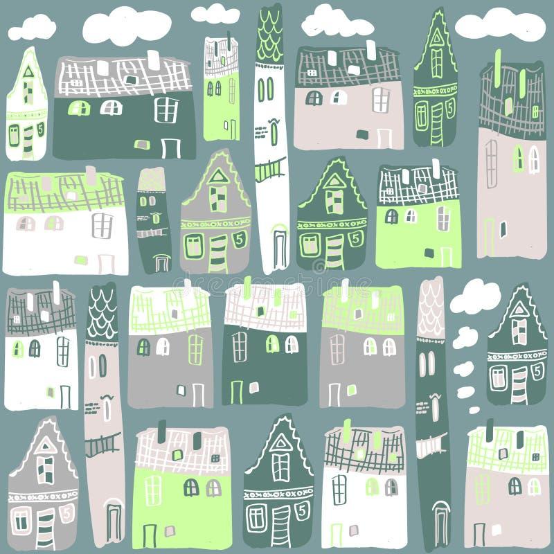 Wektorowy Bezszwowy wzór z domami ilustracji