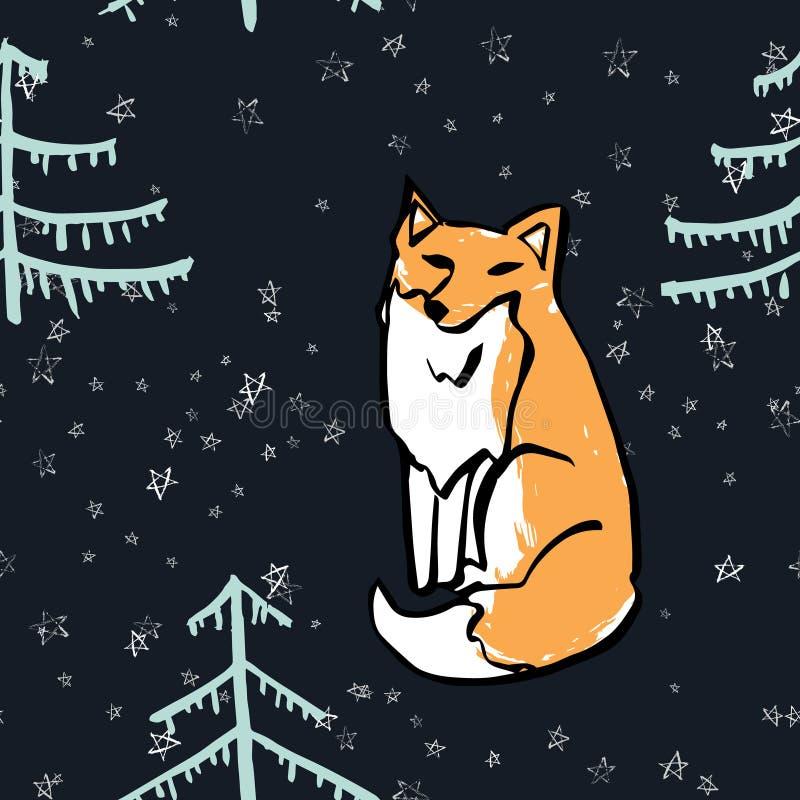 Wektorowy bezszwowy wzór z dzikim lasowym zwierzęciem ilustracja wektor