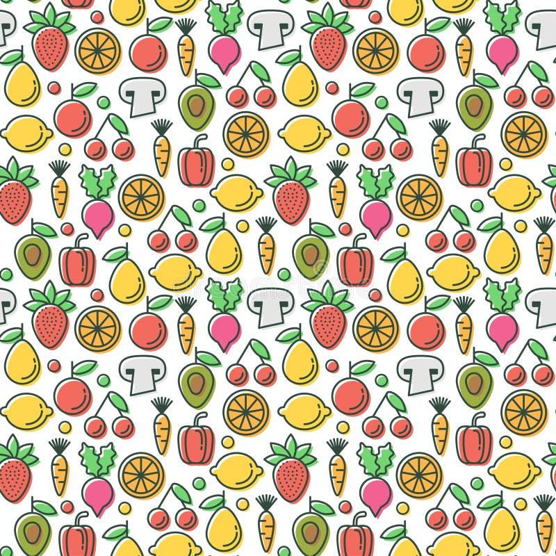 Wektorowy bezszwowy wzór z eco zdrowymi owoc vegeta i ilustracji