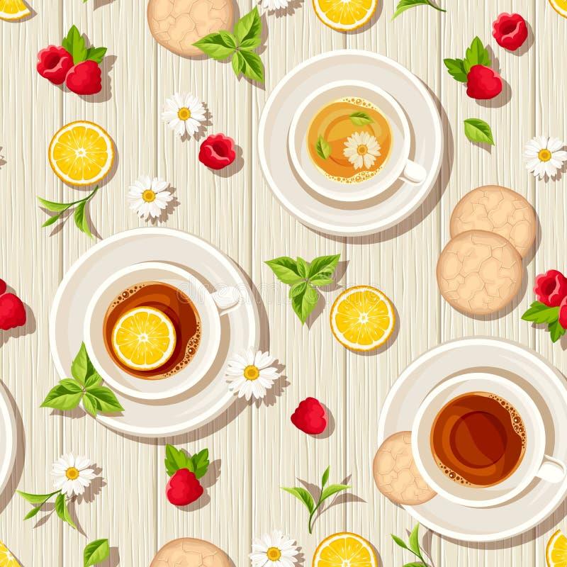 Wektorowy bezszwowy wzór z filiżankami herbata, owoc i liście na drewnianym tle, ilustracja wektor