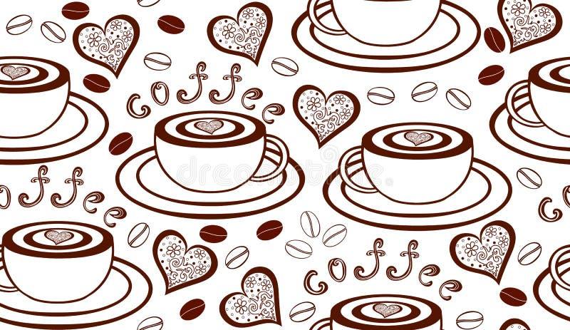 Wektorowy bezszwowy wzór z filiżankami, sercami i kawowymi fasolami, ilustracji