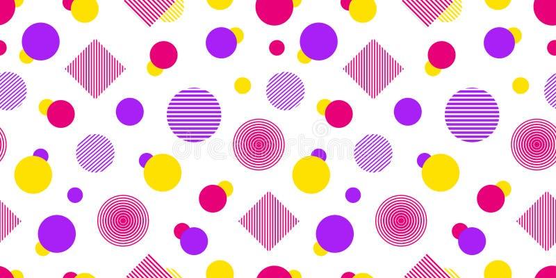 Wektorowy bezszwowy wzór z geometrycznymi kształtami Nowożytna częstotliwa tekstura Abstrakcjonistyczny tło w jaskrawych kolorach ilustracja wektor