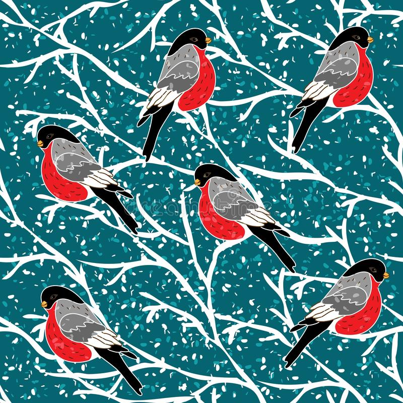 Wektorowy bezszwowy wzór z gila ptakiem ilustracja wektor