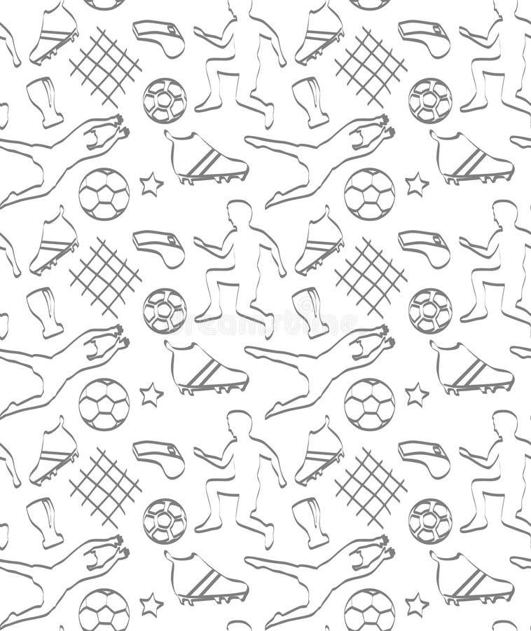 Wektorowy bezszwowy wzór z graczami piłki nożnej i piłkami royalty ilustracja
