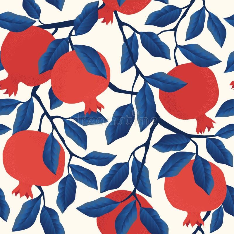 Wektorowy bezszwowy wzór z granatowiec owoc na białym tle Projekt dla kosmetyków, zdrój, granatowa sok ilustracji