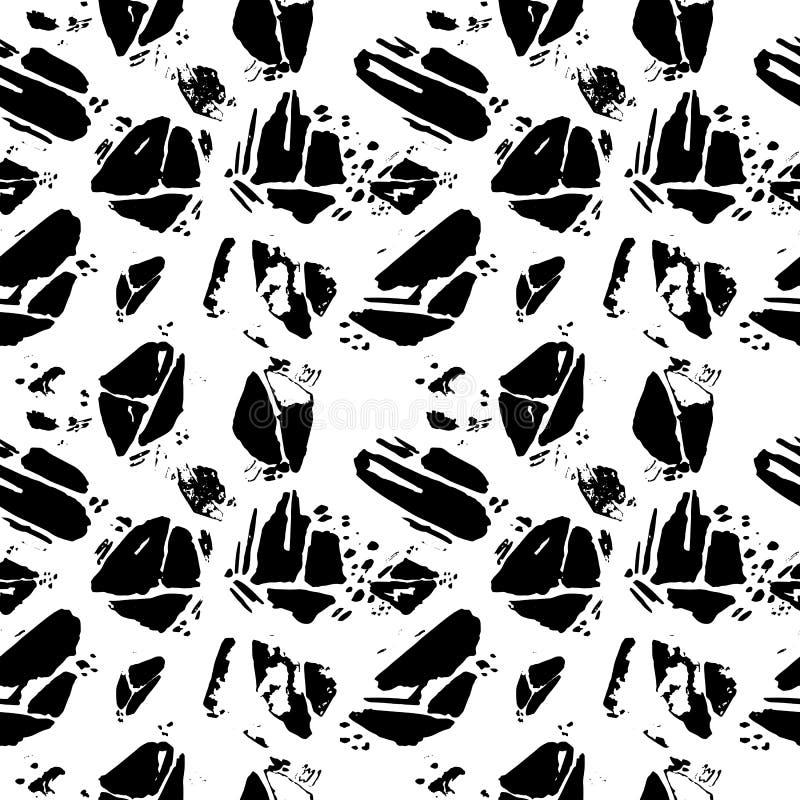 Wektorowy bezszwowy wzór z grunge ręka rysującą teksturą royalty ilustracja