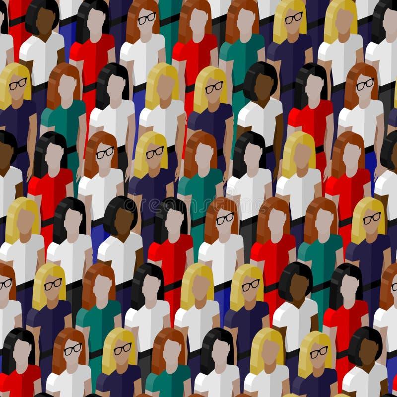 Wektorowy bezszwowy wzór z grupą well- sukni damy Płaska ilustracja biznesu lub polityka społeczność ilustracja wektor