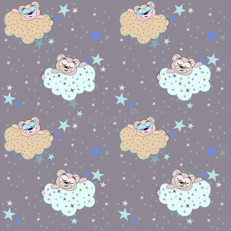 Wektorowy bezszwowy wzór z ilustracją sypialny niedźwiedź, chmurnieje i gra główna rolę royalty ilustracja