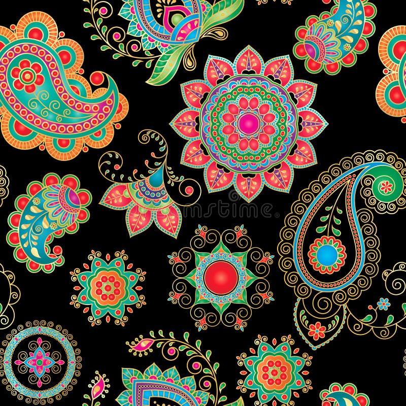 Wektorowy bezszwowy wzór z Indiańskim ornamentem paisley ogórkowy turkish Paisley i mandala Nowożytny abstrakta styl, indianin, j ilustracji