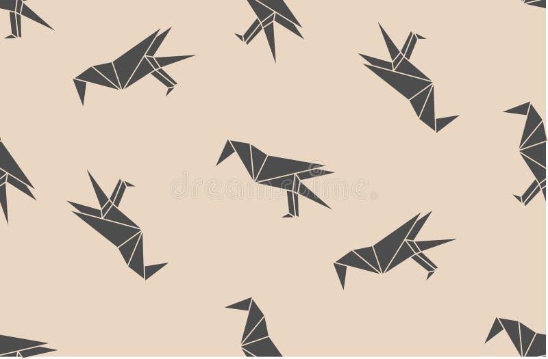 Wektorowy bezszwowy wzór z japońskiego origami czerni kruka ptaków liniowymi sylwetkami ilustracji