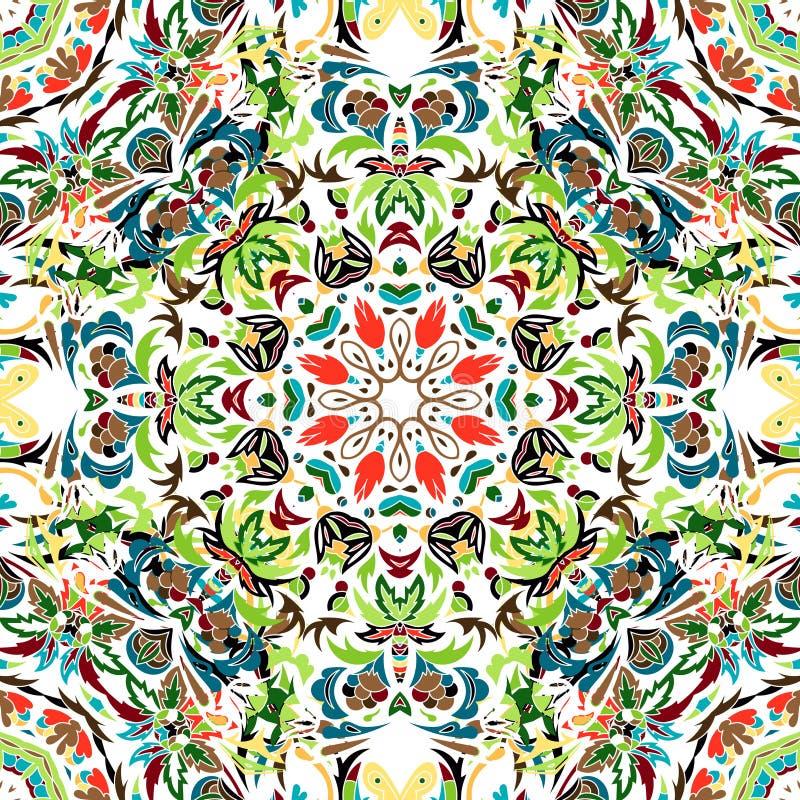 Wektorowy bezszwowy wzór z jaskrawym kwiecistym ornamentem Rocznika projekta element w Wschodnim stylu Ornamentacyjny koronkowy m ilustracja wektor
