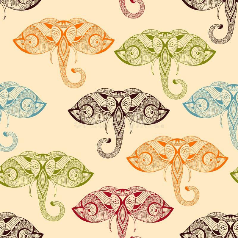 Wektorowy Bezszwowy wzór z Jaskrawymi Doodle słoniami ilustracji